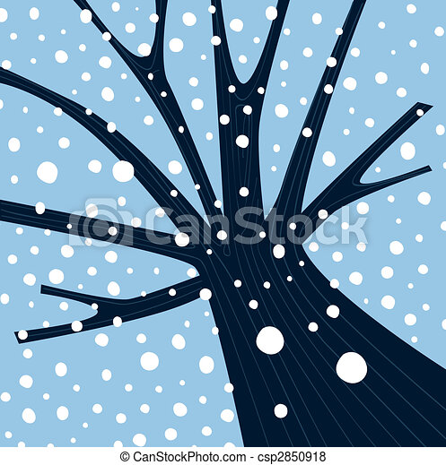 tomber, hiver arbre, neige - csp2850918