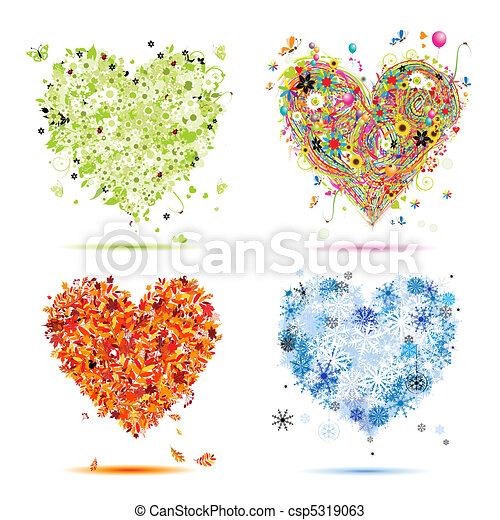 ton, printemps, winter., saisons, -, automne, été, art, cœurs, quatre, conception, beau - csp5319063