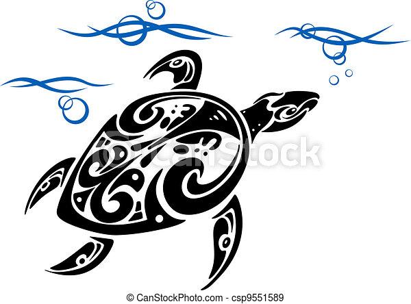 tortue, eau, mer - csp9551589