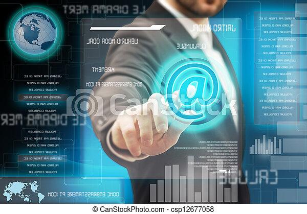 touchscreen, hommes affaires, toucher, interface, futuriste - csp12677058