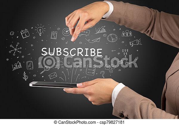 touchscreen, média, concept, gros plan, social - csp79827181