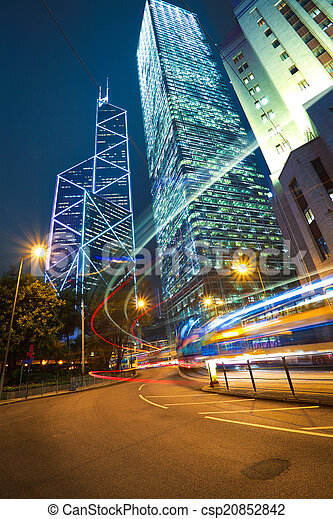 tra, arrière-plans, repère, route, moderne, bâtiments, lumière, hong kong - csp20852842