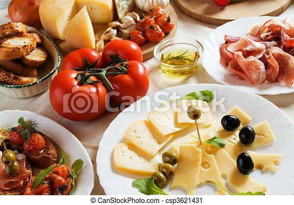 traditionnel, nourriture, antipasto, italien, apéritif - csp3621431