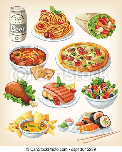 traditionnel, nourriture, ensemble, icons. - csp13845239