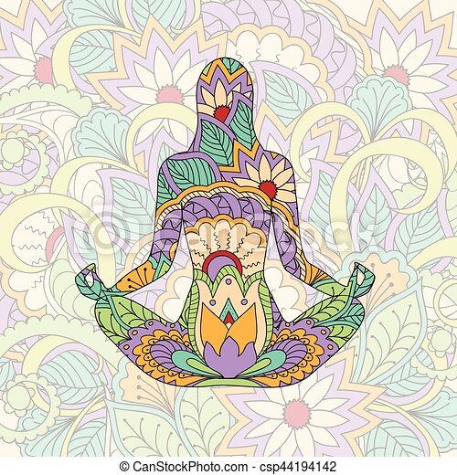 transparent, girl, silhouette, yoga - csp44194142