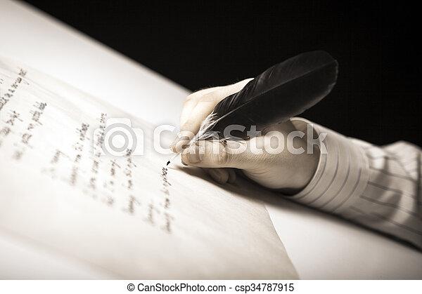 travail, écrit, écrivain, stylo, papier, fontaine - csp34787915