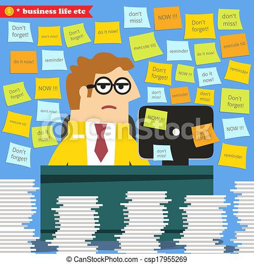travail, autour de, tas, progrès, paperasserie, dur - csp17955269