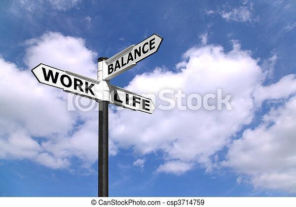 travail, poteau indicateur, vie, équilibre - csp3714759