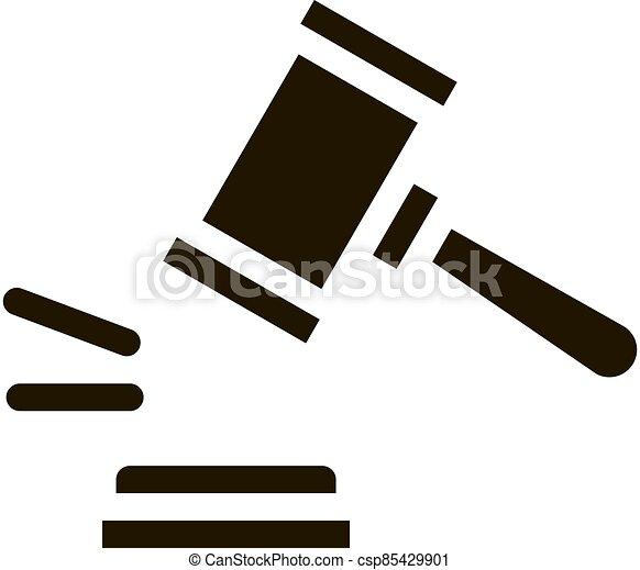 tribunal, droit & loi, jugement, marteau, illustration, vecteur, icône - csp85429901
