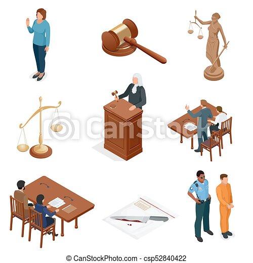 tribunal, isométrique, regulations., icônes, set., justice., légal, symboles, vecteur, illustration, jugement, juridique, droit & loi, marteau, juridique - csp52840422