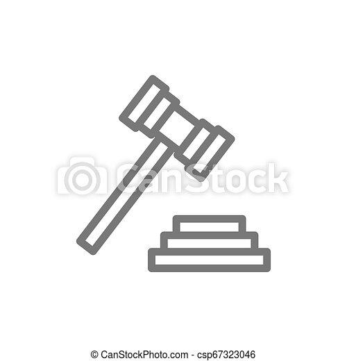tribunal, marteau, enchère, ou, juge, marteau, icon., ligne - csp67323046