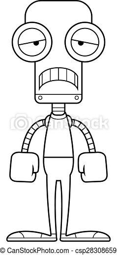 triste, robot, dessin animé - csp28308659