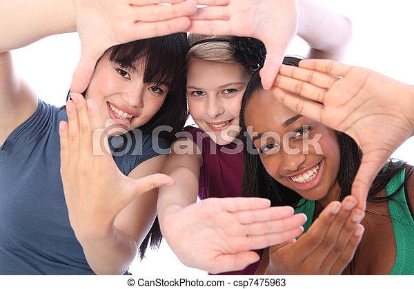 trois, culture, étudiant, ethnique, amusement, amis fille - csp7475963