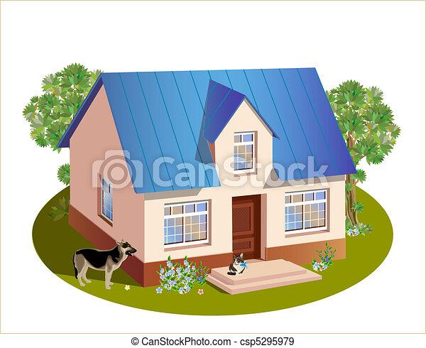 trois, maison, dimensions, modèle, famille - csp5295979