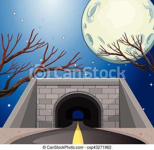 tunnel, scène, nuit - csp43271962