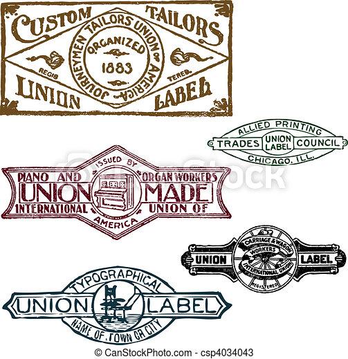 union, timbres, ensemble, retro, vecteur - csp4034043
