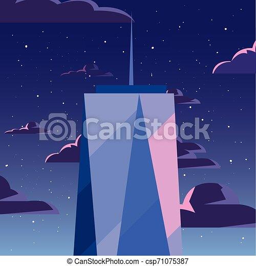 urbain, nuages, gratte-ciel, fond, nuit, tour - csp71075387