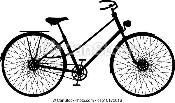 vélo, silhouette, retro - csp10172016