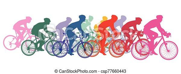 vélos, courses, cyclistes, groupe, cyclisme - csp77660443