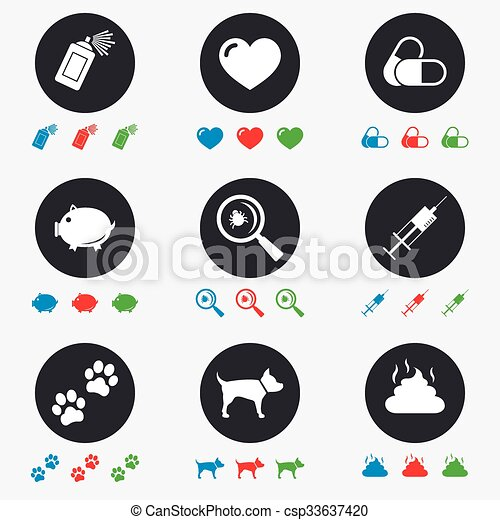 vétérinaire, chien, icons., pattes, animaux familiers, seringue, signs. - csp33637420