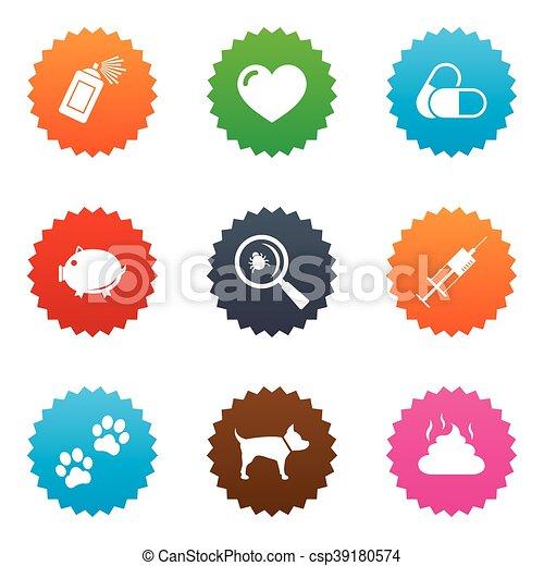 vétérinaire, chien, icons., pattes, animaux familiers, seringue, signs. - csp39180574