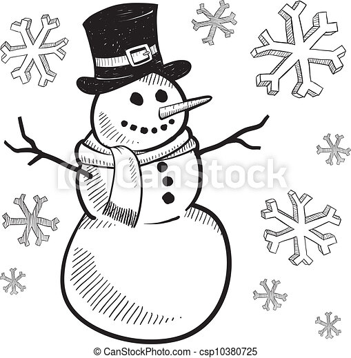 vacances, bonhomme de neige, croquis - csp10380725