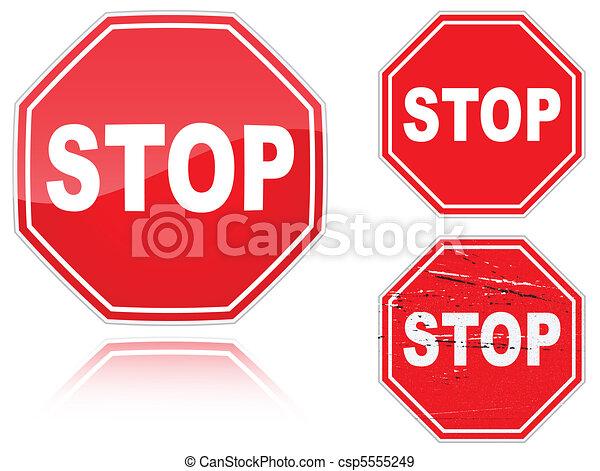 variantes, ensemble, arrêtez panneau signalisation - csp5555249