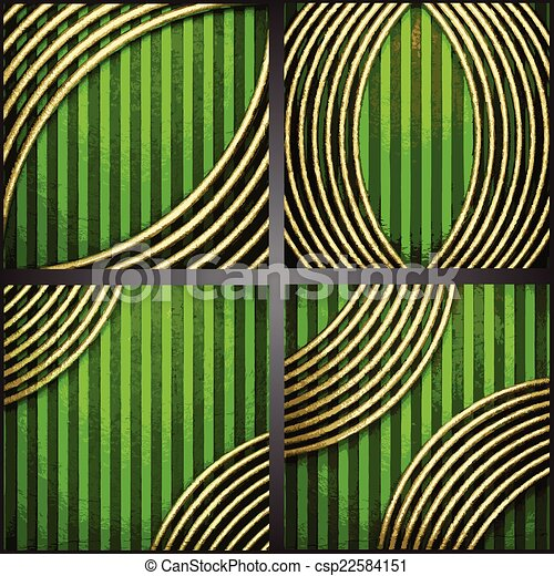vecteur, arrière-plan vert, or - csp22584151
