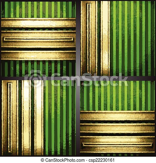 vecteur, arrière-plan vert, or - csp22230161