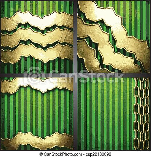 vecteur, arrière-plan vert, or - csp22180092