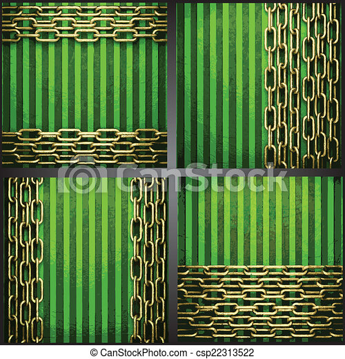 vecteur, arrière-plan vert, or - csp22313522