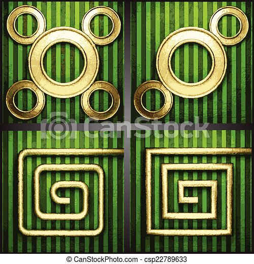 vecteur, arrière-plan vert, or - csp22789633