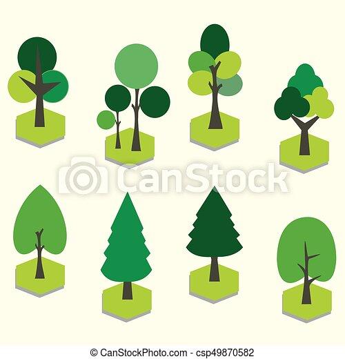 vecteur, art, arbre., 3d, ensemble, agrafe, graphique - csp49870582
