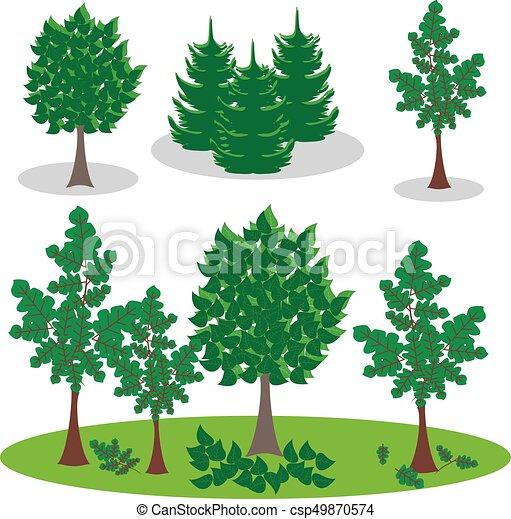 vecteur, art, arbre., ensemble, agrafe, graphique - csp49870574