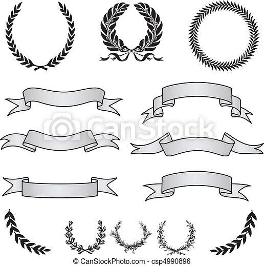 vecteur, bannière, couronnes, ensemble - csp4990896