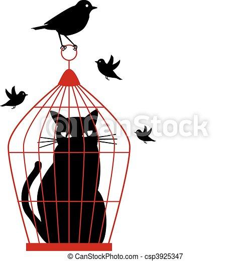 vecteur, cage d'oiseaux, chat - csp3925347