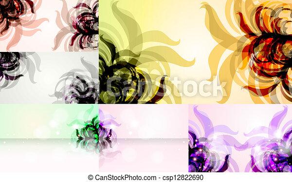 vecteur, eps10, résumé, illustration, fond, floral, élégant, ensemble - csp12822690