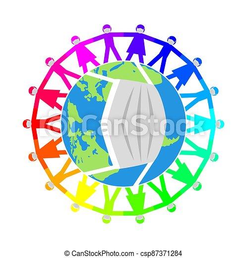vecteur, gens, illustration, mondiale, masques, autour de, monde médical - csp87371284