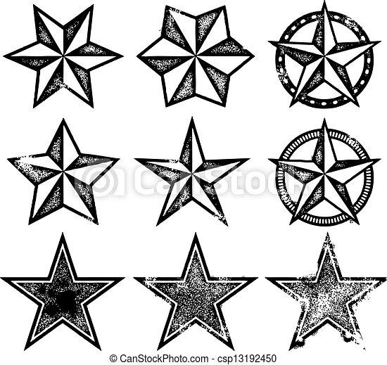 vecteur, grunge, étoiles - csp13192450