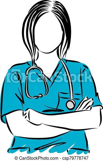 vecteur, haut, illustration, docteur, femme, fin - csp79778747