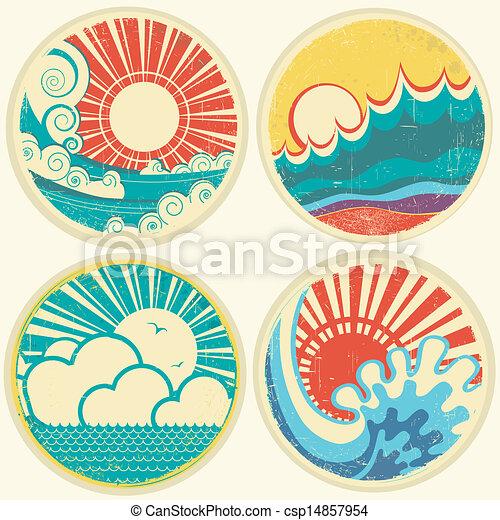 vecteur, mer, soleil, waves., marine, icônes, vendange, illustration - csp14857954