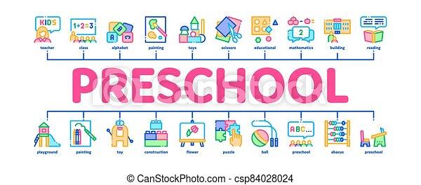 vecteur, minimal, infographic, préscolaire, bannière, education - csp84028024