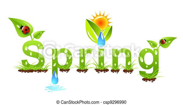 vecteur, printemps, concept, mot - csp9296990