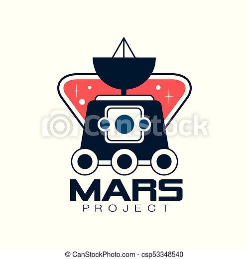 vecteur, projet, autocollant, emblème, coloré, plat, science, space., ou, voyage, conception, exploration, mars, impression, logo, ligne, astromomie, écusson, style., rover. - csp53348540