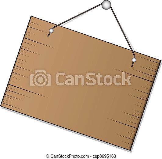 vecteur, signe bois, pendre - csp8695163