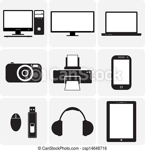 vecteur, tv, gadgets., &, ceux-ci, graphique, icons(symbols), cahier, ordinateur portable, gadgets, simplistic, autre, noir, numérique, illustrations, appareil photo, blanc, électronique - csp14648716