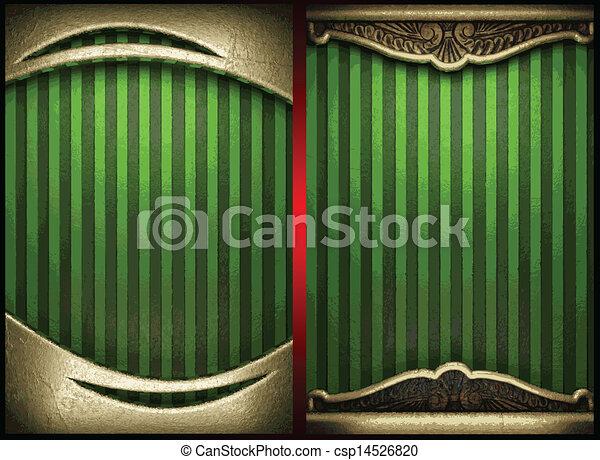 vecteur, vert, or, fond - csp14526820