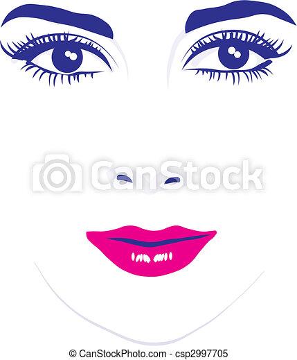 vecteur, yeux, figure, femme, illustration - csp2997705