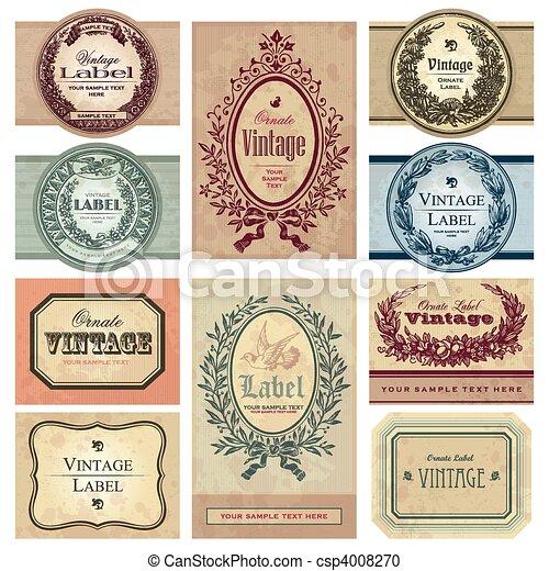 vendange, étiquettes, ensemble, (vector) - csp4008270