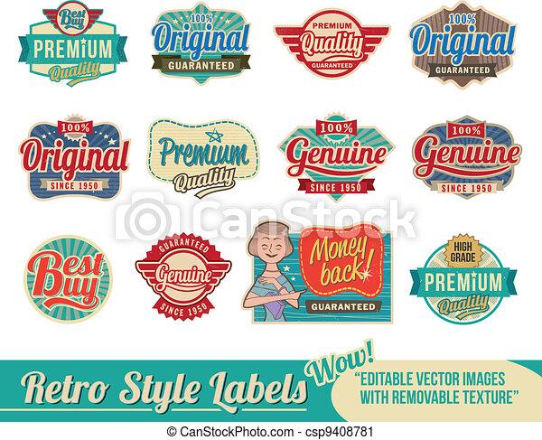 vendange, étiquettes, retro, étiquettes - csp9408781